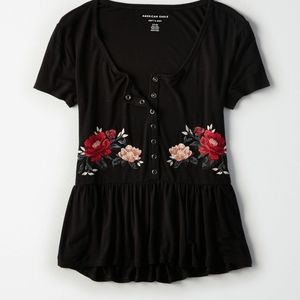 AEO | Oversized Henley Tshirt with Rose Embroidery